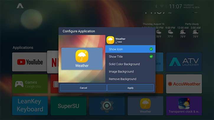 configure application atv launcher pro apk